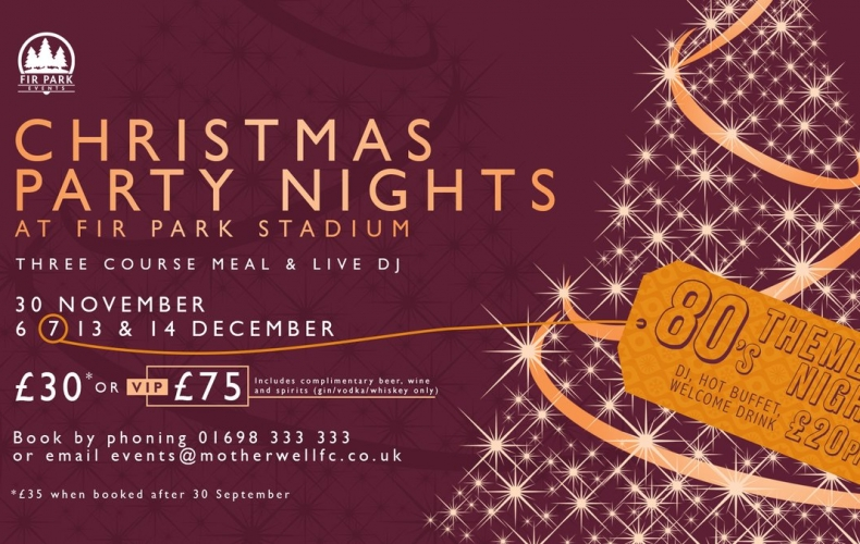 Book your Christmas party night at Fir Park